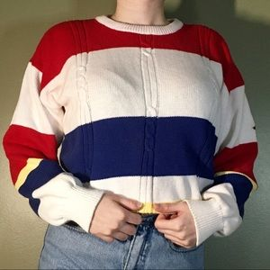 Thick Cozy Vintage Striped Knit Dad Sweater ❤️💛💙
